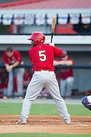 Devante Lacy (5) of the Johnson City Cardinals at bat against the Burlington Royals at Burlington Athletic Park on July 14, 2014 in Burlington, North Carolina.  The Cardinals defeated the Royals 9-4.  (Brian Westerholt/Four Seam Images)