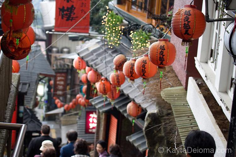 Lanterns hung down a narrow stairway in Jioufen, Taipei County, Taiwan