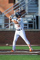 Anibal Sierra (12) of the Buies Creek Astros at bat against the Wilmington Blue Rocks at Jim Perry Stadium on April 29, 2017 in Buies Creek, North Carolina.  The Astros defeated the Blue Rocks 3-0.  (Brian Westerholt/Four Seam Images)