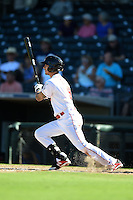 Surprise Saguaros infielder Juan Perez (9) during an Arizona Fall League game against the Scottsdale Scorpions on October 11, 2014 at Surprise Stadium in Surprise, Arizona.  Scottsdale defeated Surprise 7-6.  (Mike Janes/Four Seam Images)