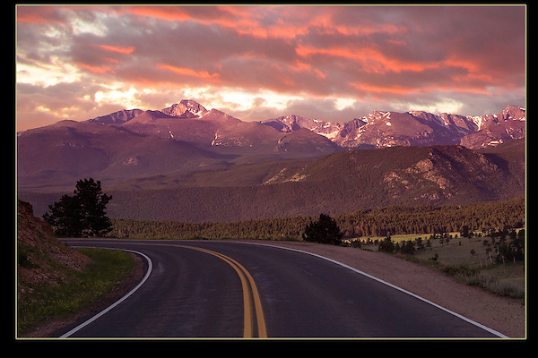 Road leading to Longs Peak at sunrise. I have lots of photography techniques depending on my guests. <br /> Outside Imagery offers Rocky Mountain National Park photo tours and hikes.  All-year.