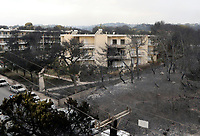Pictured: The aftermath of the fire in the Mati area, Kokkino Limanaki near Rafina, Greece. Tuesday 24 July 2018<br /> Re: Deaths caused by wild forest fires throughout Greece.