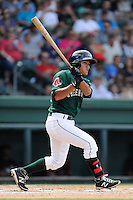 Shortstop Tzu-Wei Lin (36) of the Greenville Drive bats in a game against the Savannah Sand Gnats on Sunday, August 24, 2014, at Fluor Field at the West End in Greenville, South Carolina. Lin is the No. 28 prospect of the Boston Red Sox, according to Baseball America. Greenville won, 8-5. (Tom Priddy/Four Seam Images)