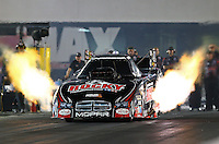 Sep 13, 2013; Charlotte, NC, USA; NHRA funny car driver Matt Hagan during qualifying for the Carolina Nationals at zMax Dragway. Mandatory Credit: Mark J. Rebilas-