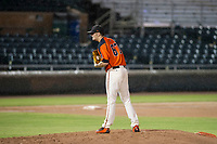 AZL Giants relief pitcher Jake Greenwalt (67) looks to his catcher for the sign during Game Three of the Arizona League Championship Series against the AZL Cubs on September 7, 2017 at Scottsdale Stadium in Scottsdale, Arizona. AZL Cubs defeated the AZL Giants 13-3 to win the series two games to one. (Zachary Lucy/Four Seam Images)