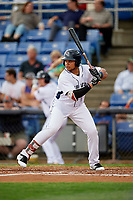 Binghamton Rumble Ponies right fielder Jhoan Urena (24) at bat during a game against the Erie SeaWolves on May 14, 2018 at NYSEG Stadium in Binghamton, New York.  Binghamton defeated Erie 6-5.  (Mike Janes/Four Seam Images)