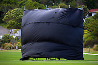 The sightscreen bulges in the wind during the Hallyburton Johnstone Shield women's cricket match between Wellington Blaze and Auckland Hearts at Karori Park in Wellington, New Zealand on Sunday, 21 February 2021. Photo: Dave Lintott / lintottphoto.co.nz