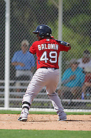 Boston Red Sox catcher Roldani Baldwin (49) during an instructional league game against the Minnesota Twins on September 26, 2015 at CenturyLink Sports Complex in Fort Myers, Florida.  (Mike Janes/Four Seam Images)
