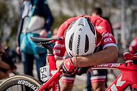 Fabio Felline (ITA/Trek-Segafredo) after finishing the 101th Ronde Van Vlaanderen 2017 (1.UWT)<br /> <br /> 1day race: Antwerp › Oudenaarde - BEL (260km)