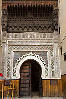Fes, Morocco.  Entrance to the Nejjarine Fondouk, in the Medina, Housing the Musee du Bois.