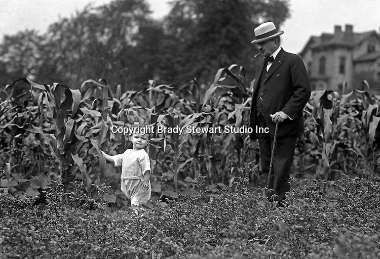 Point Breeze:  Brady Stewart's favorite subjects to photograph were family and friends.  Homer and Helen Stewart walking in the Victory Garden.  During this time the Stewart's lived at 6705 Thomas Street in Point Breeze