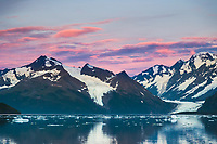 Cataract and Surprise glacier at sunrise, Harriman Fjord, Chugach Mountains, Chugach National Forest, Alaska.