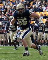 Pitt linebacker Max Gruder. The Pitt Panthers defeated the Louisville Cardinals 20-3 at Heinz Field, Pittsburgh Pennsylvania on October 30, 2010.