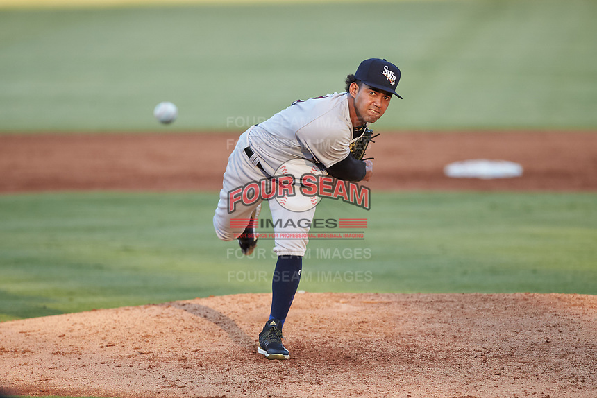 Scranton/Wilkes-Barre RailRiders starting pitcher Deivi Garcia (4) delivers a pitch to the plate against the Gwinnett Stripers at Coolray Field on August 18, 2019 in Lawrenceville, Georgia. The RailRiders defeated the Stripers 9-3. (Brian Westerholt/Four Seam Images)