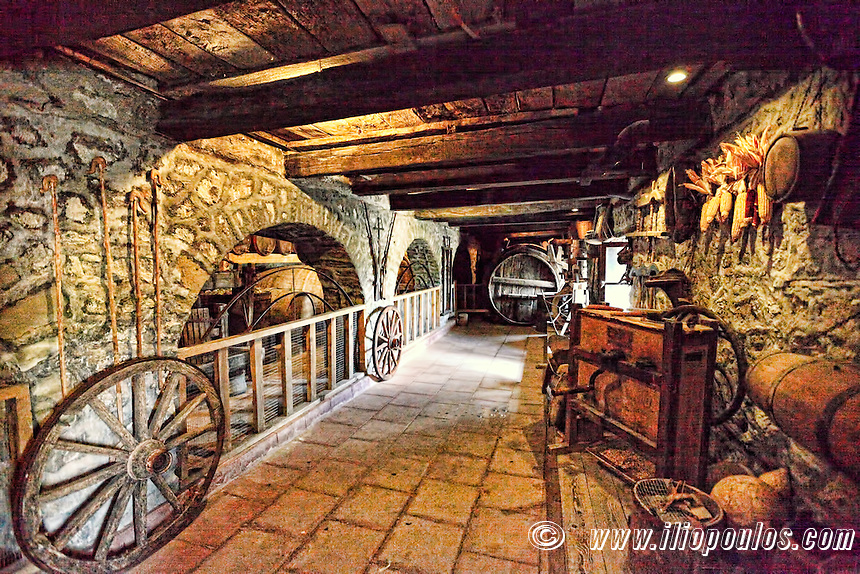 The old tools of the Great Meteoron Monastery (Megalo Meteoro) in the Meteora Monastery complex in Greece.