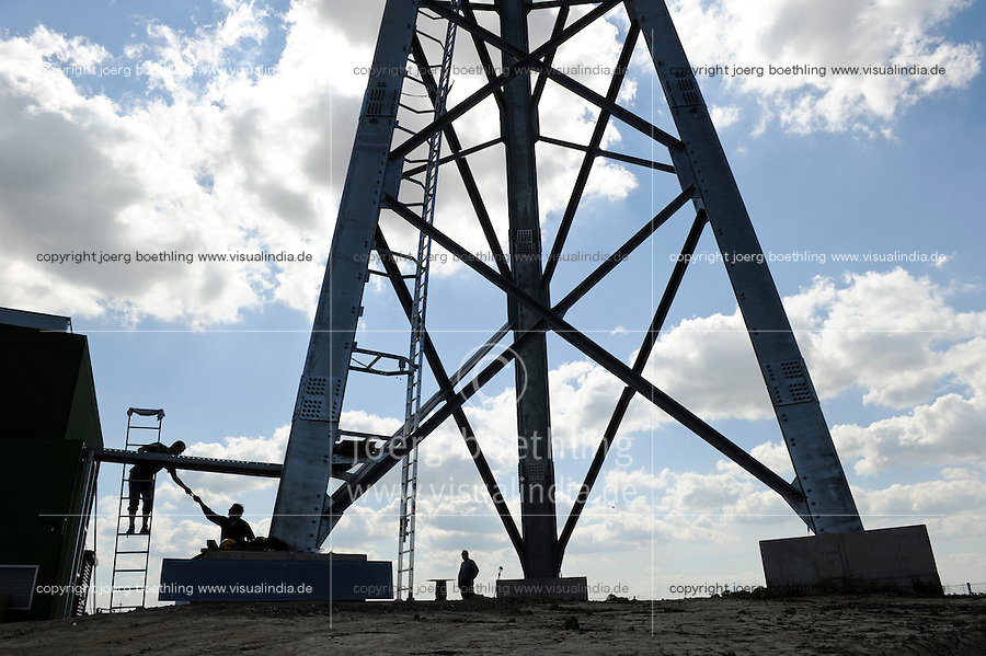 DEUTSCHLAND Bau einer neuen Gitterstahlmastkonstruktion durch Butzkies Stahlbau GmbH fuer eine Vensys Windkraftanlage in Steinburg bei Glueckstadt | .GERMANY new innovative construction of a steel lattice tower for Vensys wind turbine