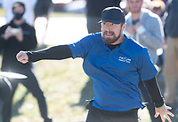 Cale Leiviska makes his tee shot on hole one Sunday Nov. 15, 2020 during the Northwest Arkansas Open disc golf tournament at Creekside Disc Golf Course in Farmington. The tournament was held over three days at several area courses. Visit nwaonline.com/201115Daily/ and nwadg.com/photos. (NWA Democrat-Gazette/J.T.WAMPLER)