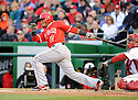 Los Angeles Angels Erick Aybar (2) during a game against the Washington Nationals on April 23, 2014 at Nationals Park in Washington, DC. The Nationals beat the Angels 5-4.