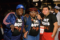 **FILE PHOTO** Prince Markie Dee of The Fat Boys (Far Right) Has Passed Away at 52.<br /> <br /> The Fat Boys at Pee Wee's Big Adventure Premiere on August 1, 1985 at Mann's Chinese Theatre in Hollywood, California  h<br /> CAP/MPI/RAP<br /> ©RAP/MPI/Capital Pictures