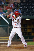 Luis Mateo (26) of the Springfield Cardinals stands at bat during a game against the Northwest Arkansas Naturals at Hammons Field on August 20, 2013 in Springfield, Missouri. (David Welker/Four Seam Images)