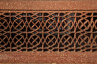 Agra, India.  Islamic Geometric Design in Stonework of the North Pavilion of the Itimad-ud-Dawlah Complex.