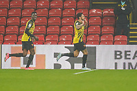 Andre Gray of Watford (right) celebrates after he scores his second goal during the Sky Bet Championship behind closed doors match between Watford and Wycombe Wanderers at Vicarage Road, Watford, England on 3 March 2021. Photo by David Horn.