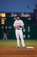 Lancaster JetHawks designated hitter Vince Fernandez (8) stands on second base during a California League game against the Visalia Rawhide at The Hangar on May 17, 2018 in Lancaster, California. Lancaster defeated Visalia 11-9. (Zachary Lucy/Four Seam Images)