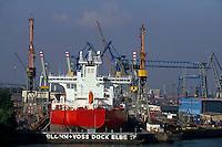 Dock der Werft Blohm und Voss im Hafen von Hamburg, Deutschland