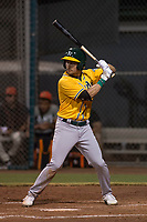 AZL Athletics center fielder Chase Calabuig (28) at bat during an Arizona League game against the AZL Giants Black at the San Francisco Giants Training Complex on June 19, 2018 in Scottsdale, Arizona. AZL Athletics defeated AZL Giants Black 8-3. (Zachary Lucy/Four Seam Images)