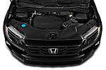 Car Stock 2021 Honda Ridgeline Sport 4 Door Pick-up Engine  high angle detail view