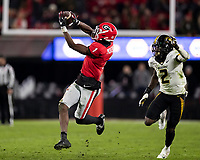 ATHENS, GA - NOVEMBER 09: George Pickens #1 of the Georgia Bulldogs catches a pass during a game between Missouri Tigers and Georgia Bulldogs at Sanford Stadium on November 09, 2019 in Athens, Georgia.