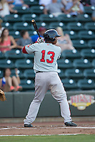 Rafael Devers (13) of the Salem Red Sox at bat against the Winston-Salem Dash at BB&T Ballpark on June 16, 2016 in Winston-Salem, North Carolina.  The Dash defeated the Red Sox 7-1.  (Brian Westerholt/Four Seam Images)