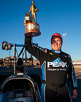 Nov 3, 2019; Las Vegas, NV, USA; NHRA top alcohol dragster driver Duane Shields celebrates after winning the Dodge Nationals at The Strip at Las Vegas Motor Speedway. Mandatory Credit: Mark J. Rebilas-USA TODAY Sports