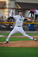 Clinton LumberKings Nick Wells (37) throws during the Midwest League game against the Beloit Snappers at Ashford University Field on June 11, 2016 in Clinton, Iowa.  The LumberKings won 7-6.  (Dennis Hubbard/Four Seam Images)