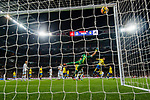 Goalkeeper Raul Lizoain Cruz of UD Las Palmas failed to stop the goal by Marco Asensio Willemsen of Real Madrid (Not in picture)  during the La Liga 2017-18 match between Real Madrid and UD Las Palmas at Estadio Santiago Bernabeu on November 05 2017 in Madrid, Spain. Photo by Diego Gonzalez / Power Sport Images