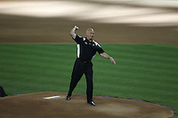 PHOENIX - JULY 11:  Cal Ripken throws out the first pitch before the 2011 MLB Home Run Derby at Chase Field on July 11, 2011 in Phoenix, Arizona. Photo by Brad Mangin