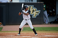 UCF Knights shortstop Brandon Hernandez (7) at bat during a game against the Siena Saints on February 17, 2019 at John Euliano Park in Orlando, Florida.  UCF defeated Siena 7-1.  (Mike Janes/Four Seam Images)