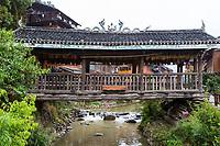 Zhaoxing, Guizhou, China, a Dong Minority Village with Covered Bridge (Fengyu).