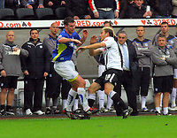 ATTENTION SPORTS PICTURE DESK<br /> Pictured: Gorka Pintado of Swansea City in action <br /> Re: Coca Cola Championship, Swansea City Football Club v Cardiff City FC at the Liberty Stadium, Swansea, south Wales. Saturday 07 November 2009