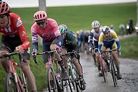 Sep Vanmarcke (BEL/EF Education First) over the Ruiterstraat cobbles<br /> <br /> 75th Omloop Het Nieuwsblad 2020 (1.UWT)<br /> Gent to Ninove (BEL): 200km<br /> <br /> ©kramon