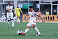 FOXBOROUGH, MA - MAY 22: Caden Clark #37 of New York Red Bulls controls the ball in the midfield during a game between New York Red Bulls and New England Revolution at Gillette Stadium on May 22, 2021 in Foxborough, Massachusetts.