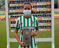 BUCARAMANGA- COLOMBIA, 01-08-2021: Maria Fernanda Agudelo Londoño de Atletico Nacional es la jugadora del partido entre Atletico Bucaramanga y Atletico Nacional de la Fase de Grupos de la fecha 5 por la Liga Femenina BetPlay DIMAYOR 2021 jugado en el estadio Alfonso Lopez en la ciudad de Bucaramanga. / Maria Fernanda Agudelo Londoño  of Atletico Nacional is the player of the match between Atletico Bucaramanga and Atletico Nacional of the Group Phase the 5th date for the Women's League BetPlay DIMAYOR 2021 played at the Alfonso Lopez stadium in Bucaramanga city. / Photo: VizzorImage / Jaime Moreno / Cont.
