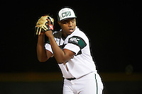 Chicago State Cougars relief pitcher Jamary McKinney (13) gets ready to deliver a pitch during a game against the Georgetown Hoyas on March 3, 2017 at North Charlotte Regional Park in Port Charlotte, Florida.  Georgetown defeated Chicago State 11-0.  (Mike Janes/Four Seam Images)