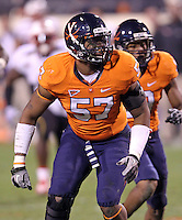 Nov 13, 2010; Charlottesville, VA, USA; Virginia Cavaliers linebacker Darnell Carter (57) during the game against the Maryland Terrapins at Scott Stadium. Maryland won 42-23.  Mandatory Credit: Andrew Shurtleff