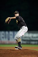 Bristol Pirates relief pitcher Alec Rennard (19) delivers a pitch during a game against the Bluefield Blue Jays on July 26, 2018 at Bowen Field in Bluefield, Virginia.  Bristol defeated Bluefield 7-6.  (Mike Janes/Four Seam Images)