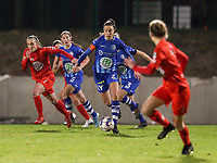 Silke Vanwynsberghe (21) of AA Gent with the ball during a female soccer game between FC Femina White Star Woluwe and AA Gent Ladies on the 13 th matchday of the 2020 - 2021 season of Belgian Scooore Womens Super League , friday 5 th of February 2021  in Woluwe , Belgium . PHOTO SPORTPIX.BE | SPP | SEVIL OKTEM