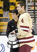Tommy Cross (BC - 4) - The Boston College Eagles defeated the Boston University Terriers 3-2 (OT) to win the 2012 Beanpot championship on Monday, February 13, 2012, at TD Garden in Boston, Massachusetts.