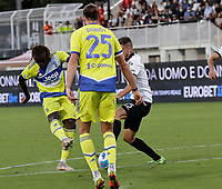 22nd September 2021; Picco Stadium, La Spezia, Italy; Serie A football, Spezia FC versus Juventus  FC: Moise Kean of Juventus shoots and scores 1  - 0 in 27th minute