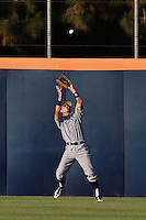 Dominique Taylor #21 of the UC Irvine Anteaters catches a fly ball during a game against the Cal State Fullerton Titans at Goodwin Field on May 18, 2013 in Fullerton, California. Fullerton defeated UC Irvine, 3-2. (Larry Goren/Four Seam Images)