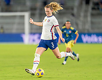 ORLANDO, FL - JANUARY 22: Samantha Mewis #3 of the USWNT takes a shot during a game between Colombia and USWNT at Exploria stadium on January 22, 2021 in Orlando, Florida.